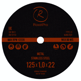 RoxelPro Отрезной круг ROXTOP 125 x 1.0 x 22мм, Т41, нерж.сталь, металл