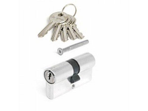 Цилиндровый механизм НОМЕ 60 мм, 5 ключей, цвет Хром/Золото (материал ЦАМ)