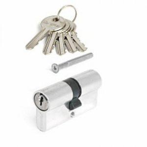 Цилиндровый механизм НОМЕ 70 мм, 5 ключей, цвет Хром (материал ЦАМ)